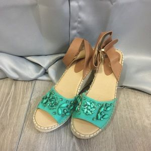 Cato Wedge Sandals. Pool Green Color
